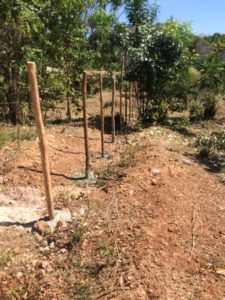 A wood and wire fence has been constructed around the land